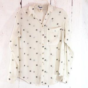GARAGE   Sheer Cream & Gray Star Print Blouse XS